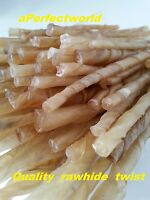 5'' (3-5mm thick)BEST QUALITY DOG TREAT CHEWS NATURAL RAWHIDE TWISTS FREE UK P+P