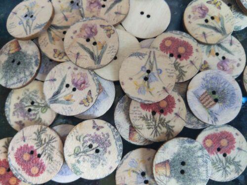 10//20//50 Mixte Bois Boutons Vintage botanique fleurs diamètre 25 mm 2 trous