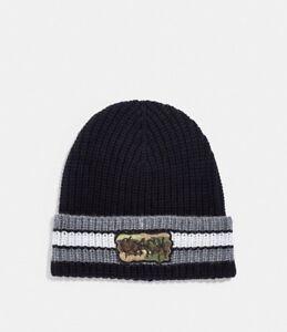 311d69d30a17b New Coach Merino Wool Varsity Stripe Knit Beanie Hat w  Graffiti ...