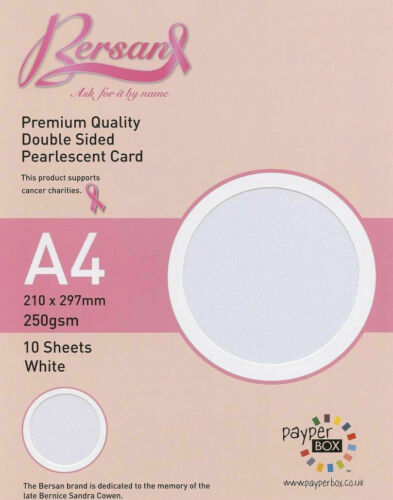 10 Hojas A4 blanco nacarado tarjeta de doble cara cartulina de calidad BERSAN