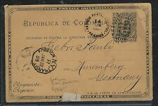 COLOMBIA(PP2706B) 1895 2C PSC VIA NY TO GERMANY