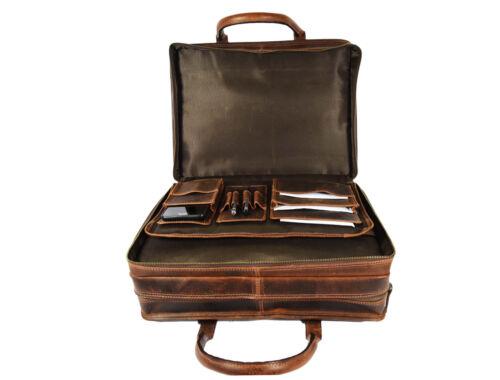 "Mens Buffalo Leather Office Briefcase 17/"" Laptop Satchel Business Messenger Bag"