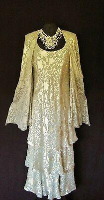 CATTIVA Size 12 Grey & Creamy Gold Ladies Designer Wedding Dress & Jacket Outfit