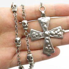 "Vtg 925 Sterling Silver Large Cross Skull Bead Handmade Rosary Necklace 20"""
