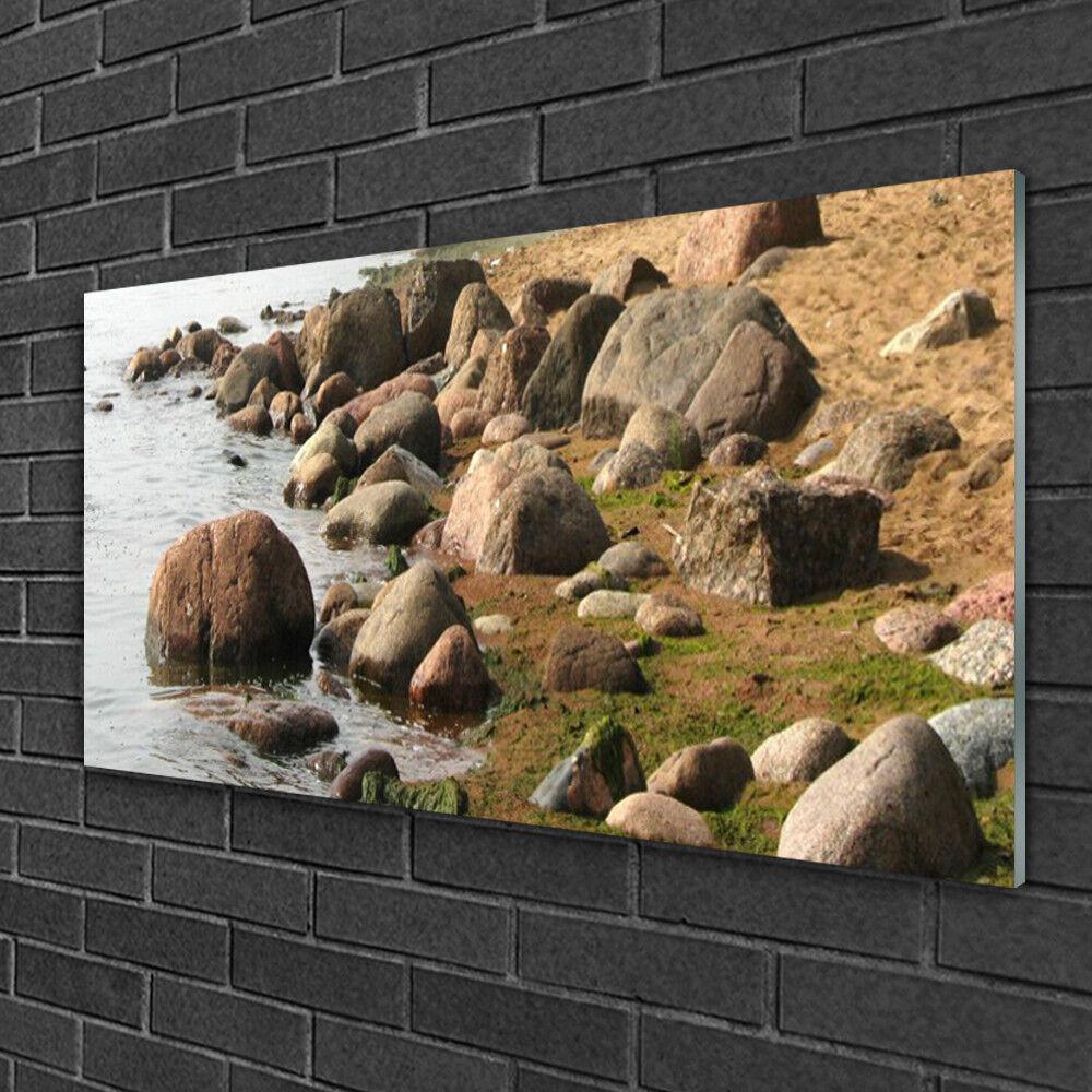 Image sur verre acrylique Tableau Impression 100x50 Paysage Pierres Mer