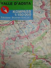 CARTINA MAP VALLE D'AOSTA KOMPASS 1:150000 EDIZIONE BRUNNER S.A.C.A.T. AA/1022