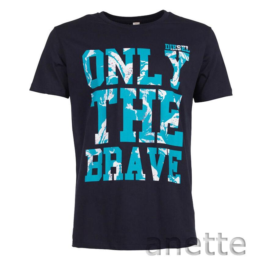 Diesel T-Burt NEW T-shirt homme bleu graphique marine coton marque graphique bleu seulement le brave BNWT b48c21