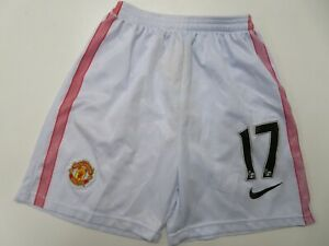 quality design cd62b cad86 Details about Manchester United #17 Jersey Shorts White Nike Soccer Youth  Boys Small