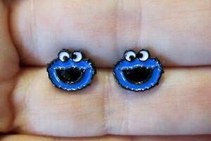 Cookie-Monster-Earrings-Hypoallergenic-Stud