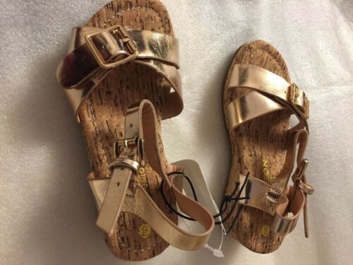 Girls Kids Rose Gold//Metallic Mid Wedge Heel Summer Party Sandals Shoes