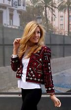 ZARA red Ethnic Embroidered Beaded Jacket Blazer Coat Size Small S