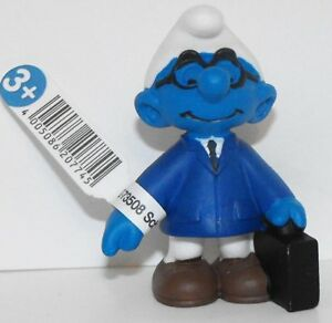 20774 Salesman Smurf Figurine from 2015 Office Set Plastic Miniature Figure