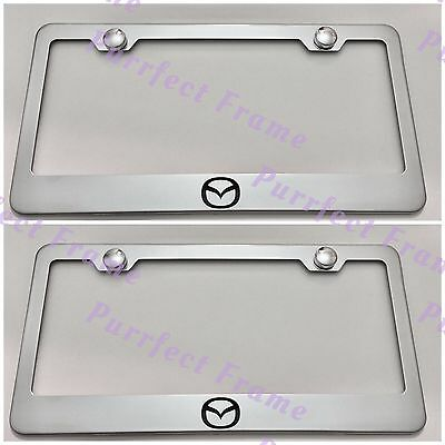 2X Mazda 6 Black Stainless Steel License Plate Frame Rust Free W// Bolt Cap