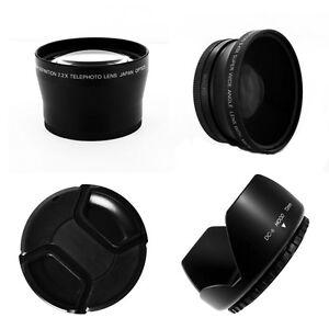 2PC Lens KIT HI DEF Wide Angle /& 2X TELEPHOTO Lens Set for Sony HVR-Z7U HVR-Z7