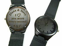 Engraved Personalized Wood Mens Wrist Watch Anniversary Birthday Valentines Gift