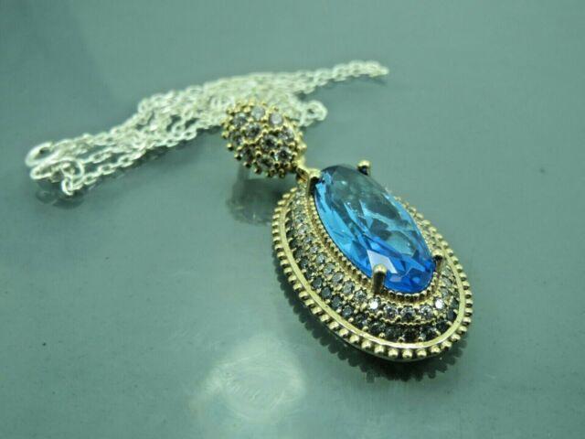 Turkish Handmade Jewelry 925 Sterling Silver Aquamarine Stone Women Necklace