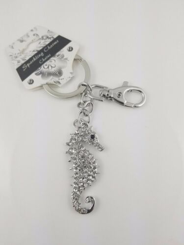 Puzzled Clear Seahorse Sparkling Charms Chains Keychain