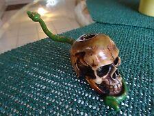 Skull w/ Snake Ceramic Tobacco Pipe     5 free non glass screens  (PM 1255 )