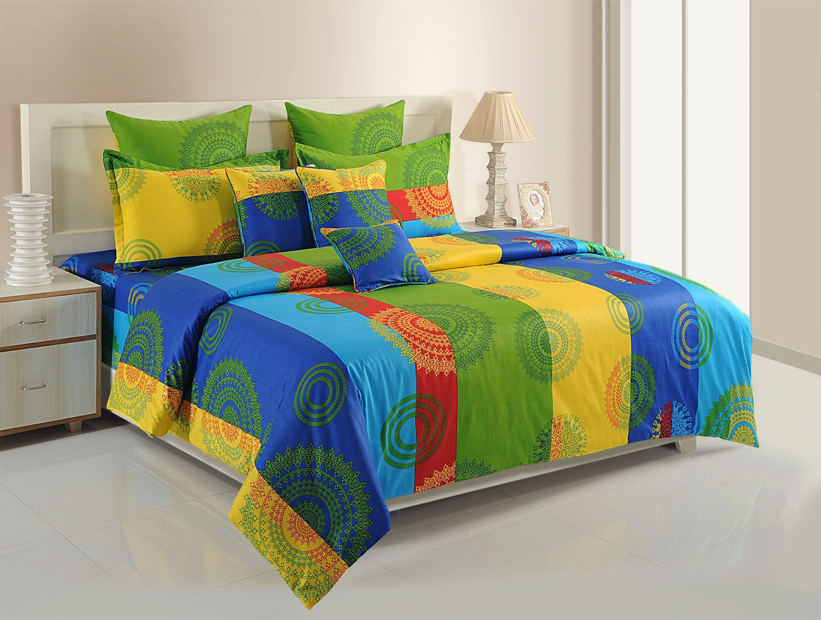 Yuga MultiColoreeeee Mandala Print Cotton Bedding Set Flatsheets 210 TC Bed-sheet