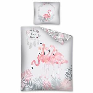 Tropical-Follow-Votre-Reves-Flamant-Rose-Housse-Couette-Simple-amp-Europeen-Taie