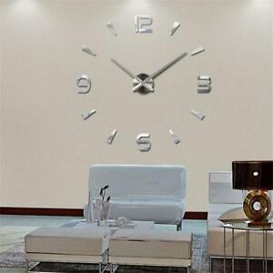 Modern 3d Large Diy Mirror Surface Wall Clock Sticker Haus Office
