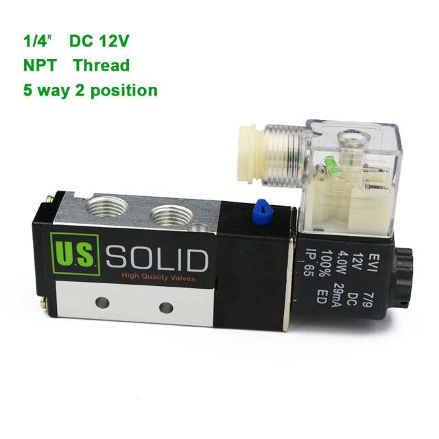 "2 COILS 5 Way 2 Pos 1//4/"" Solenoid Valve Pneumatic Air Control 12VDC Coil 12 Vdc"