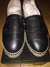 NIB HOT! Chanel Black Leather Double Sole Espadrilles Sz 40