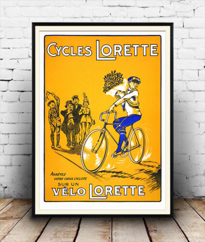 Cycles Lorette vintage  French Cycle advertising poster reproduction.