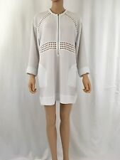 IRO Ebong Perforated Exposed Zip Dress White NWT Size 40 US 10 Retail $469