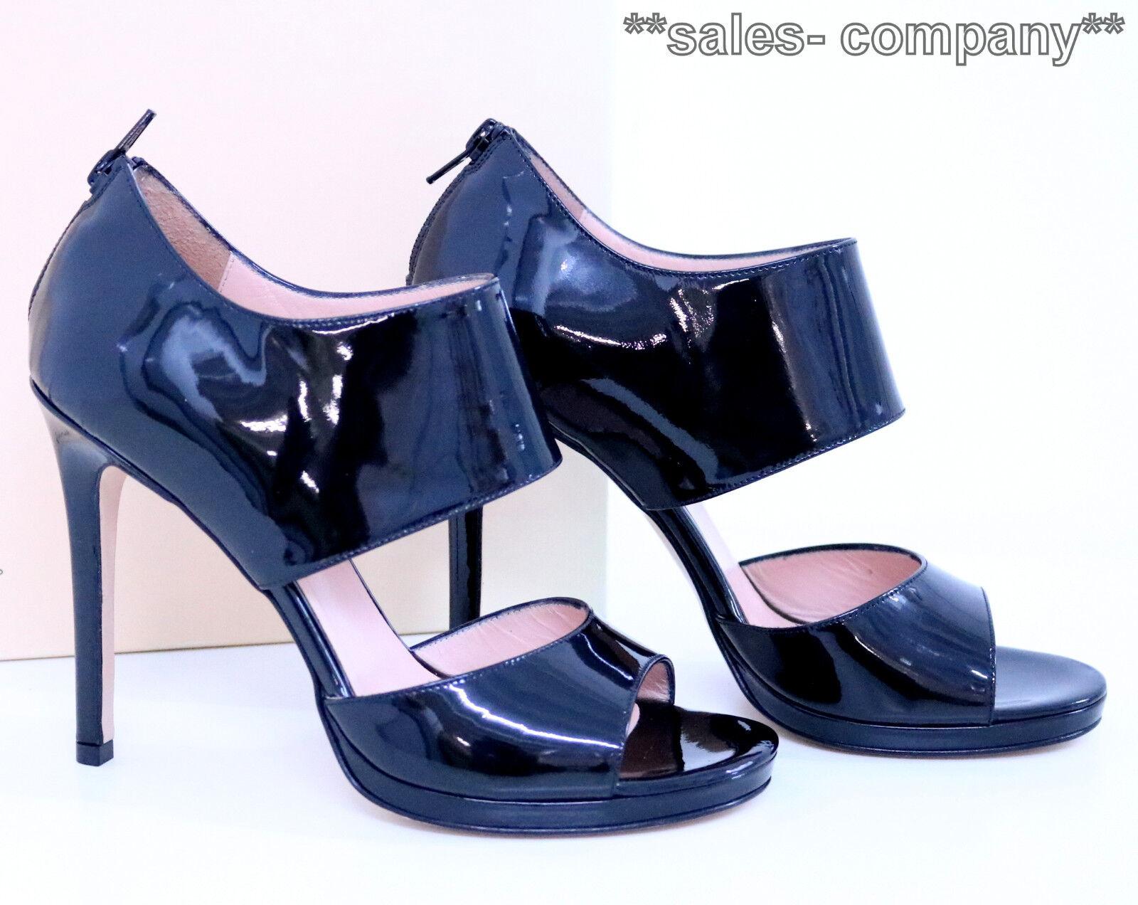Anna F. Sandalette Lackleder Lack-Stilettos Gr.38 Schwarz Lackleder Sandalette Neu+OVP LP ec5467