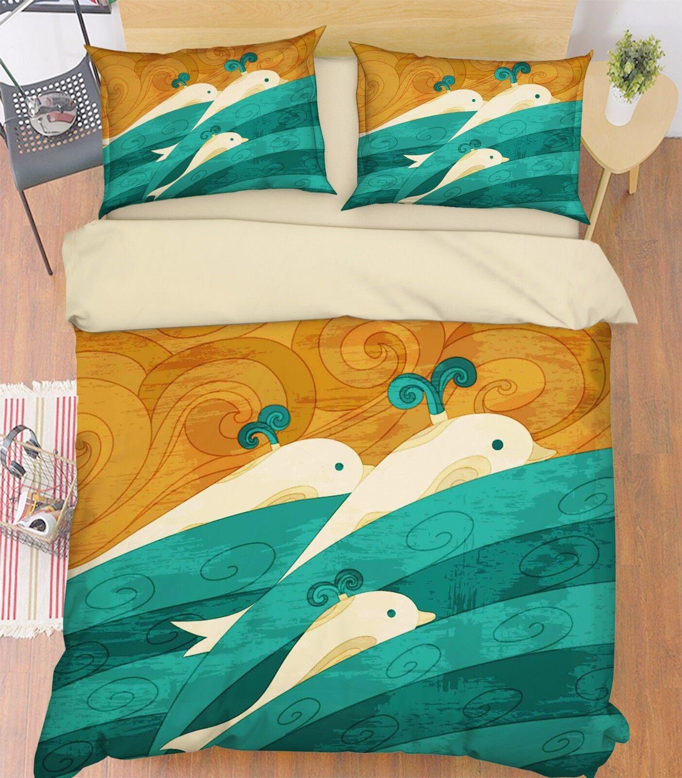3D Wal Meer 452 Bett Kissenbezüge steppen Duvet Decken Set Single DE Carly