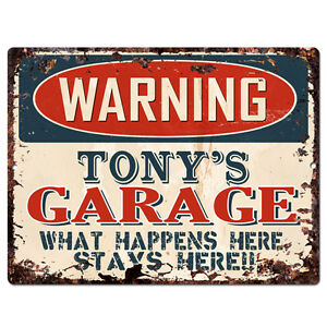 PPFG0103-WARNING-TONY-039-S-GARAGE-Tin-Chic-Sign-Home-man-cave-Decor-Funny-Gift