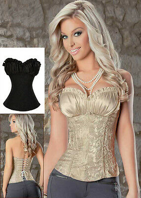 CREAM Gold or BLACK Renaissance Style BASQUE Satin LACE Corset TOP S,M,L,XL,XXL
