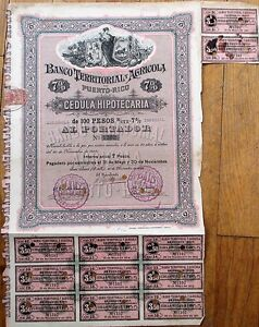 Puerto-Rico-Bank-Agriculture-1895-Stock-Bond-Certificate-Banco-Territorial-Ag