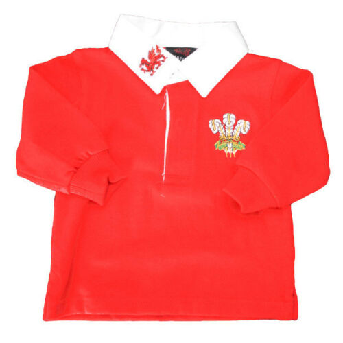 **PERSONALISED* WELSH TRADITIONAL LONG SLEEVE SHIRT Kids Baby Wales Rugby Top
