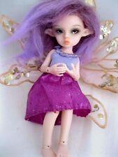 "OOAK Tickle Pink Tiny 5 1/2"" Nabiyette BJD dollhouse fairy elf fur wig doll"