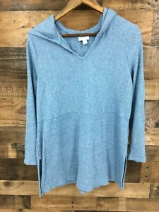 J-Jill-Women-039-s-Heathered-Blue-Hooded-Pullover-Lightweight-Sweater-Top-Size-M