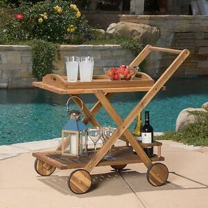 Image Is Loading Outdoor SERVING CART WOOD Tray WINE RACK Portable