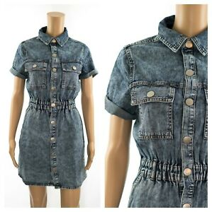 New-Look-Acid-Wash-Denim-Pockets-Utility-Casual-Shirt-Dress-SECONDS