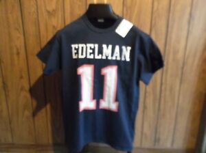 low priced 12450 003cf Details about Julian Edelman shirt jersey med blue short sleeve NE Patriots  New with defect
