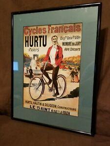 Cycles Francais Hurtu Paris Framed Advertisement Print 1889