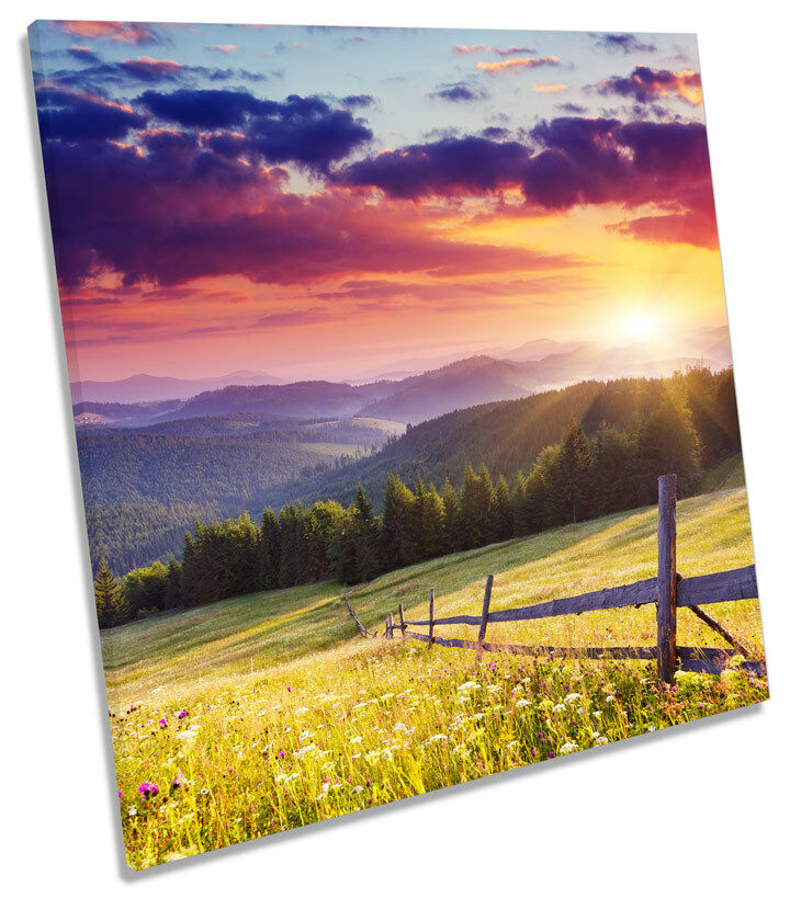 Stunning Landscape Sunset Sunset Sunset CANVAS WALL ART SQUARE Picture Print 31055a