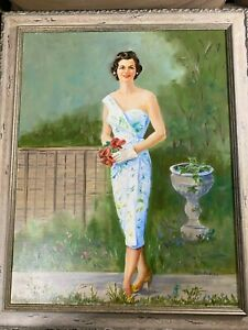 Edith-Maurice-Bregy-034-Portrait-Of-A-Young-Woman-034-Oil-Painting-Signed-Framed