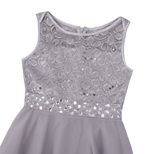 Flower Girl Princess Dress Kids Lace Tops Party Wedding Bridesmaid Chiffon Dress