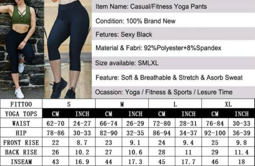 Frauen Anti-Cellulite Yogahosen Leggings High Waist Fitness Hose Gym Overall Neu