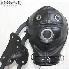 100 % Real Genuine Leather Bondage Mask Hood with Mouth Gag & Blindfold