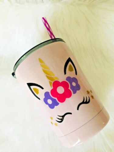 10 oz Custom Made/Personalized Stainless Steel Unicorn Glitter Tumbler/Gift