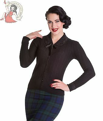 HELL BUNNY 50's JOSEPHINE LACE collar RIBBED cable CARDIGAN BLACK
