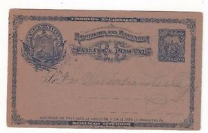 1896 Salvador 1c Postal Card Happy New Year