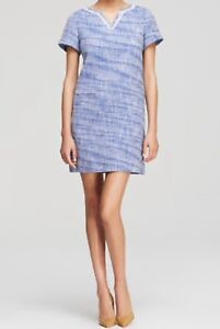 New-358-Kate-Spade-NY-Graphic-Tweed-Tunic-Mini-Dress-Size-0-Blue